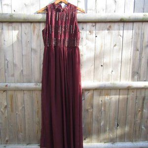 NEW Burgundy Gown Hi Neck Crystals and Sequins NWT